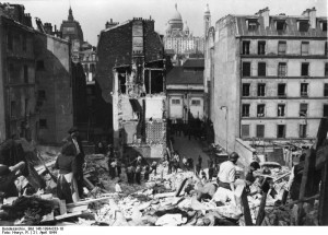 Distant view of Sacré Coeur from a Paris neighbourhood that had been hit during the Allied air raid of 21 April 1944 [Bundesarchiv Bild 146 1994-033-18]