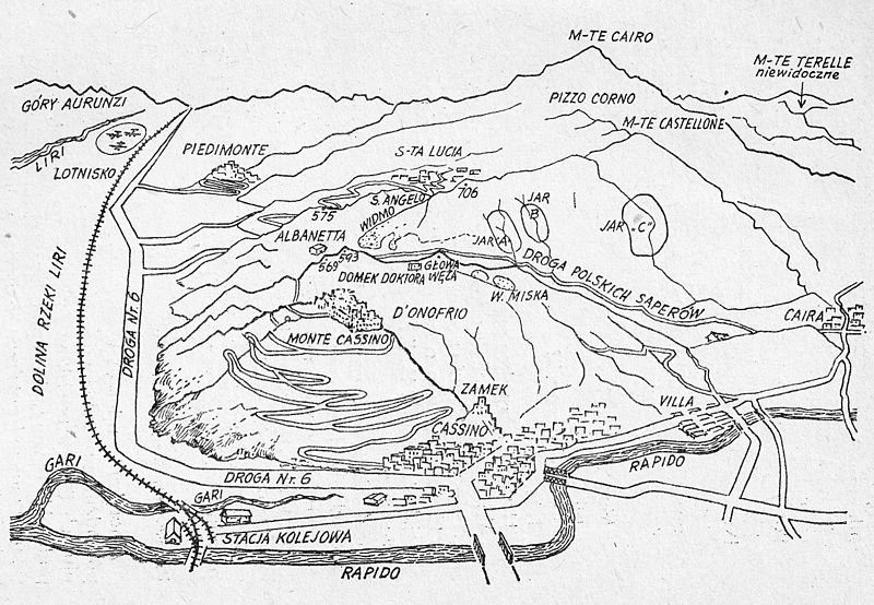 Sketch of the Monte Cassino battlefield drawn for the HQ of the 2nd Polish Corps [Public domain]
