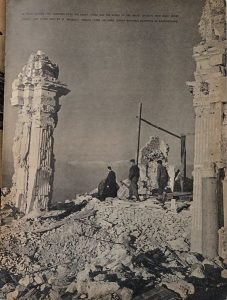 Photograph that appeared in 'Yank, the Army Weekly' showing a monk guiding two soldiers over the ruins of Monte Cassino abbey [Public domain]