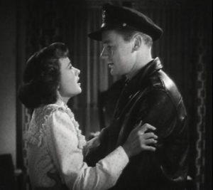 Ellen Lawson (Phyllis Thaxter), wife of flier Ted Lawson (Van Johnson) say goodbye before he ships out to take part in the Doolittle mission in the movie Thirty Seconds Over Tokyo [Public domain]